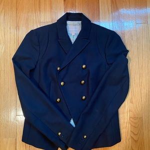 Double-breasted navy blue blazer